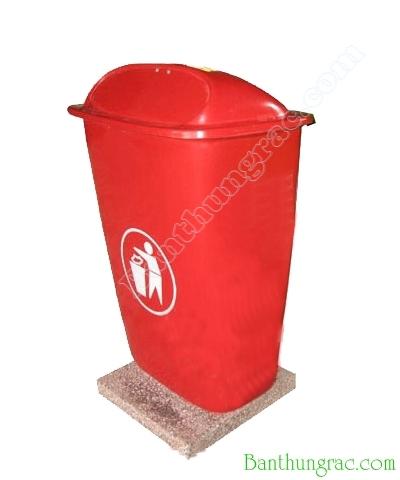 Thùng rác composite 50L có đế màu đỏ