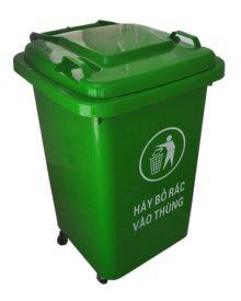 thùng rác có 4 bánh xe dung tích 60 lít, thùng rác HDPE 60L có bánh xe