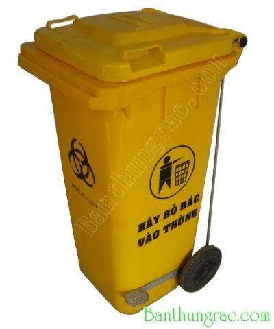 Thùng rác nhựa 120L - Thùng rác 120 lít màu vàng